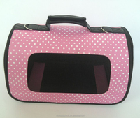600D oxford dot printing pink dog carrier for small dogs and cat\s