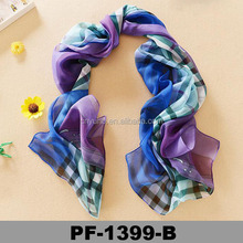 Fashion Wholesale Printing manufacture checked printed chiffon colorful plaid pashmina shawl scarf