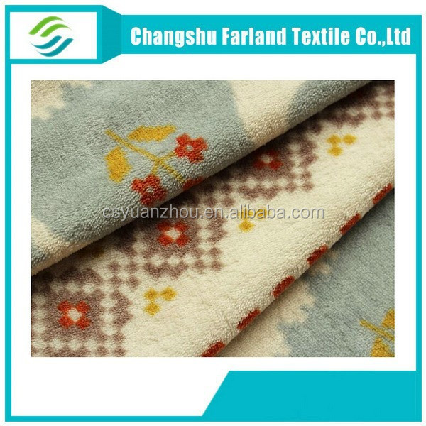 printed velvet fabric wool and polyester coral fleece fabric