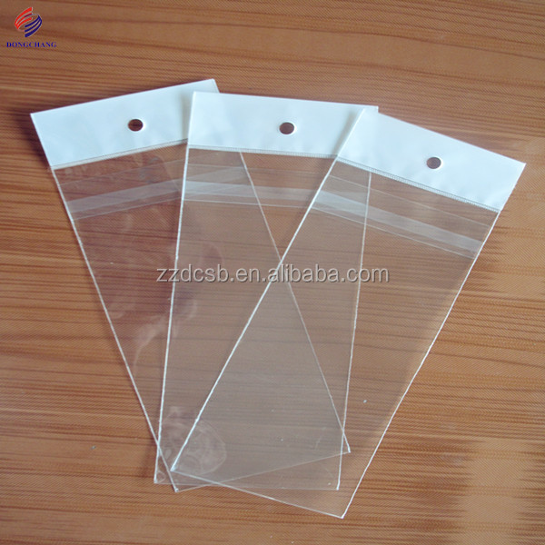 Clear opp plastic bag with header and adhesive flap