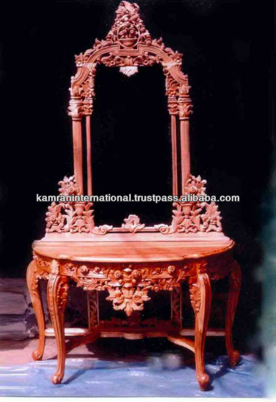 Carved wood corner dressing table with mirror