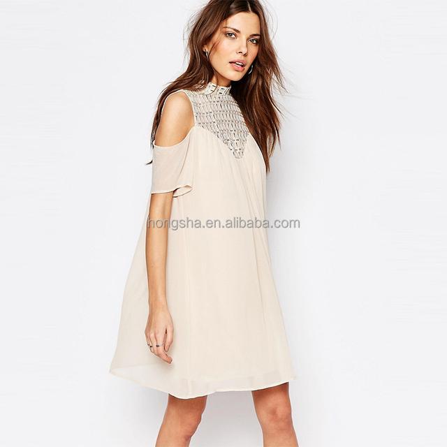 Latest Dress Patterns For Girls Cold Should Crochet Neck Swing Dress HSD9361