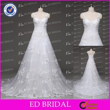 Old Fashion A-line Spaghetti Straps Lace Appliqued Wedding Dresses for Sale