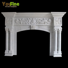 New Design Home Decoration Carved White Fireplace Mantel