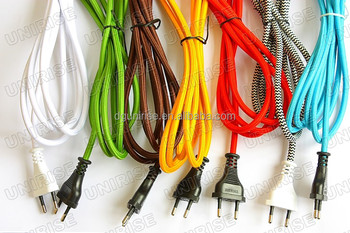 vde power cord with inline switch and textile braided cable