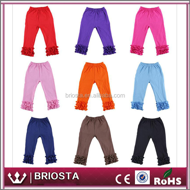 Wholesale Kids Solid Cotton Icing Ruffle Leggings