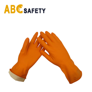 Flock lined orange latex rubber long cuff cleaning household gloves