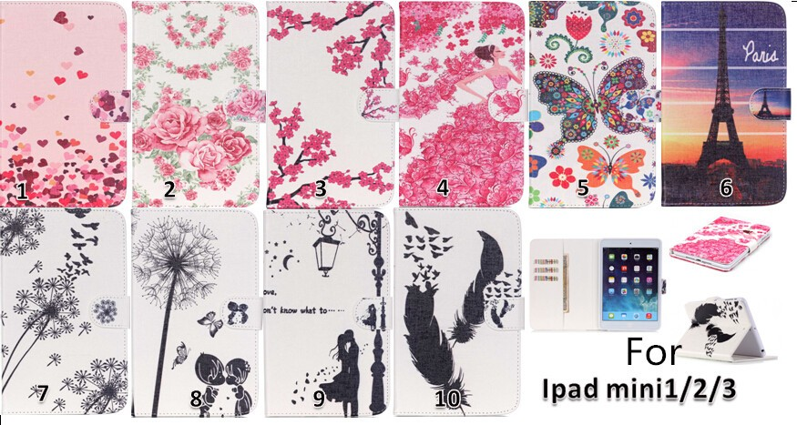 High Quality Colorful Patterns PU Leather Flip Case Cover for iPad Mini 2 with Kick Stand