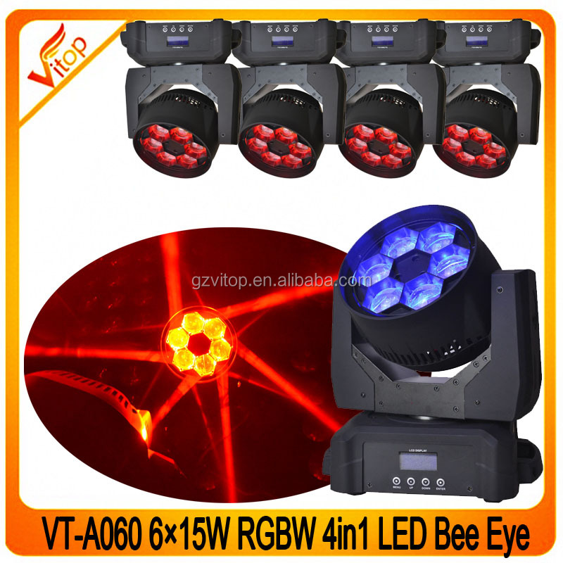 Best selling disco 6x15w 4in1 led beam bee eye 6pcs mini led moving head light