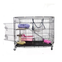 Factory direct sale welded wire mesh pet cat cage cat breeding cages with wheels
