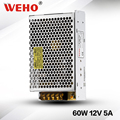 Metal case 12vdc 5a power supply 60w