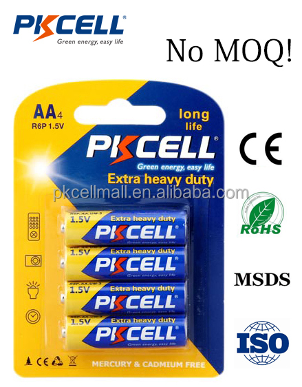 PKCELL 1.5V carbon zinc battery R6P AA size 105 mins with no MOQ