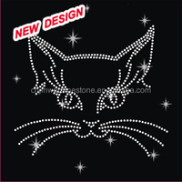 Funny cat rhinestone animal iron on transfers H 2 (48)