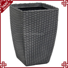 S&D All weather outdoor black rattan planter wicker handcrafts water proof garden ceramic flower pot