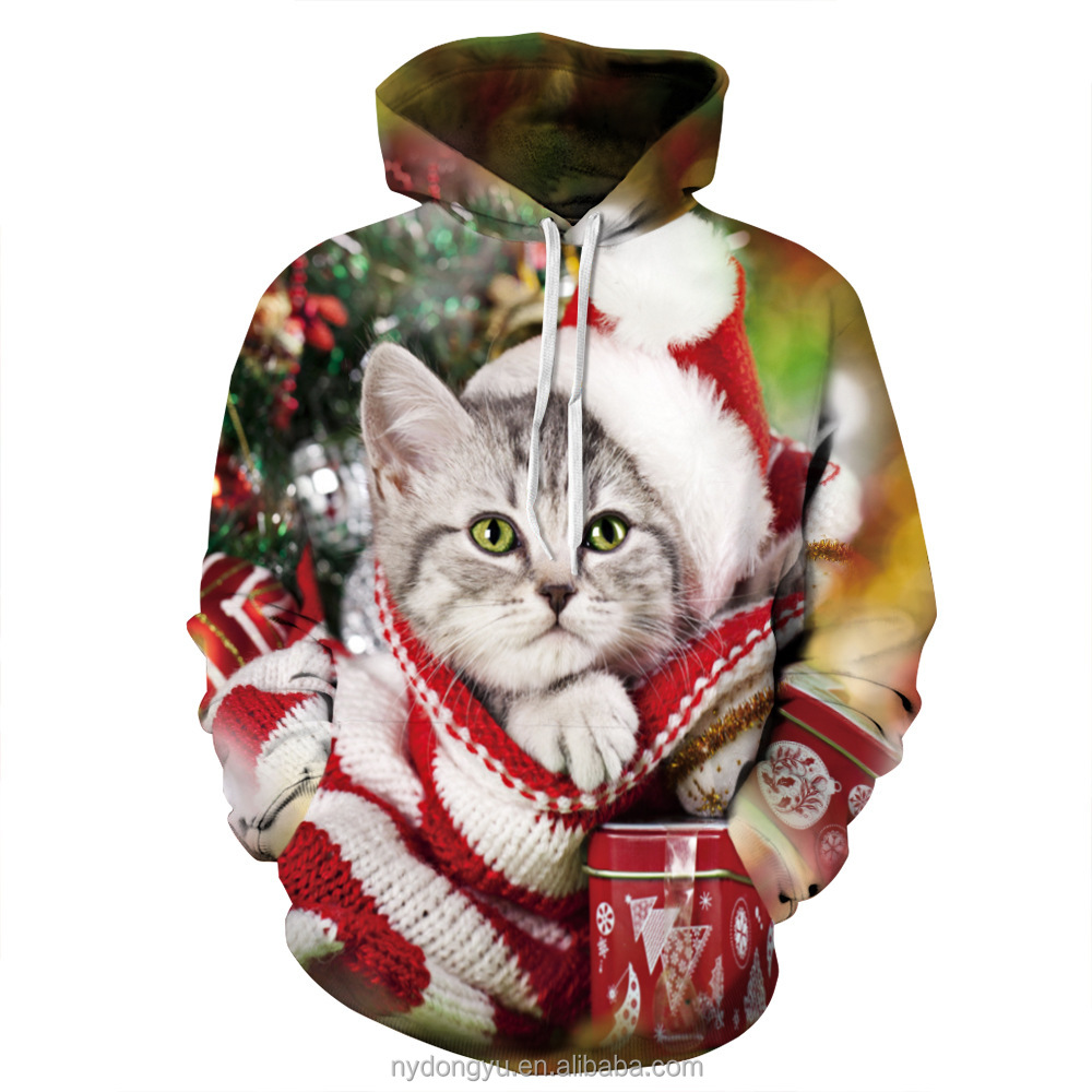 cat with hat 3d printed hoodeis s/mduo unisex cat in a hat 3d printed hoodies/hot sell men and women 3D hoodies