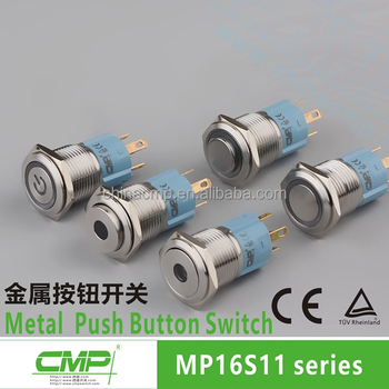 16mm metal momentary pushbutton switch with pilot light machine switches