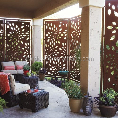 corten steel wall panels used for garden screen fence