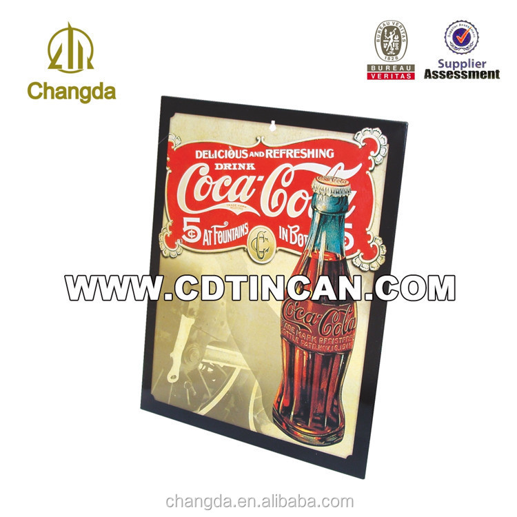 Logo printed rectangular embossed metal tin sign for custom