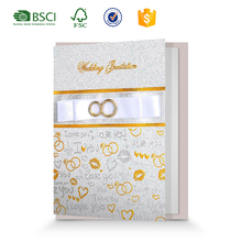 Elegant Wedding Party Decoration Paper Invitation Cards for Wedding Favors with Golden Rings