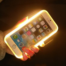 LED Phone Case For Iphone 5/5S/SE/6/6S/6 Plus, Selfie Light Phone Case For Samsung Galaxy S6/S7 jewelry display case led lights
