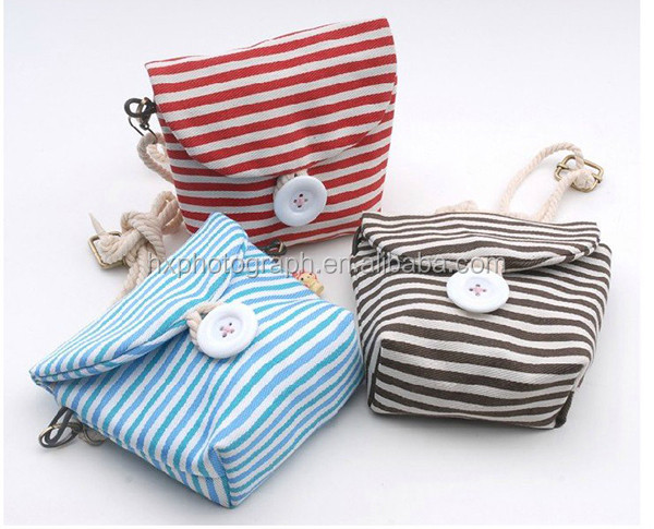 Canvas Stripes Cute Small Camera Bag Case
