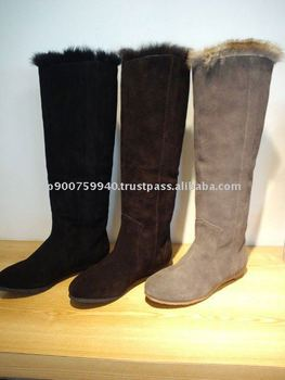 Velour rabbit fur boots