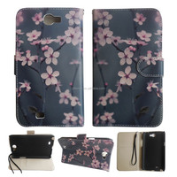 Hot New Plum flower flip Leather printing Case for mobile phone samsung note2 n7100