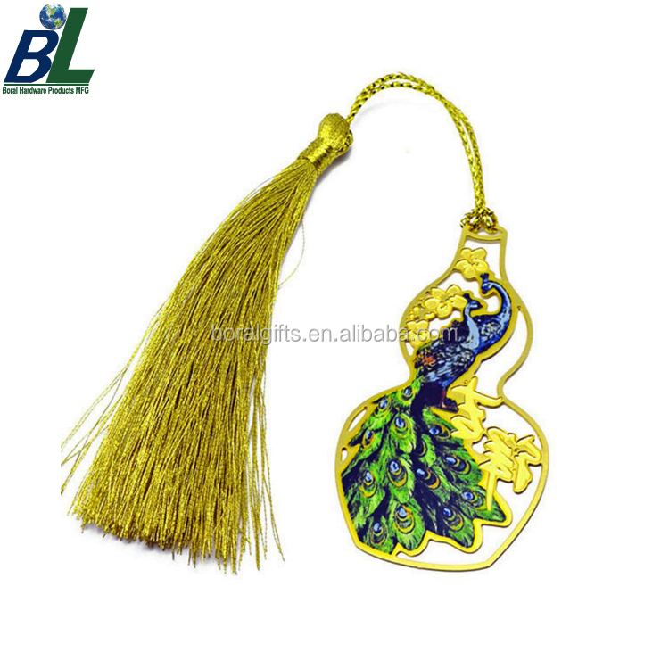Tassel attached UV printing bird bookmarks for sale