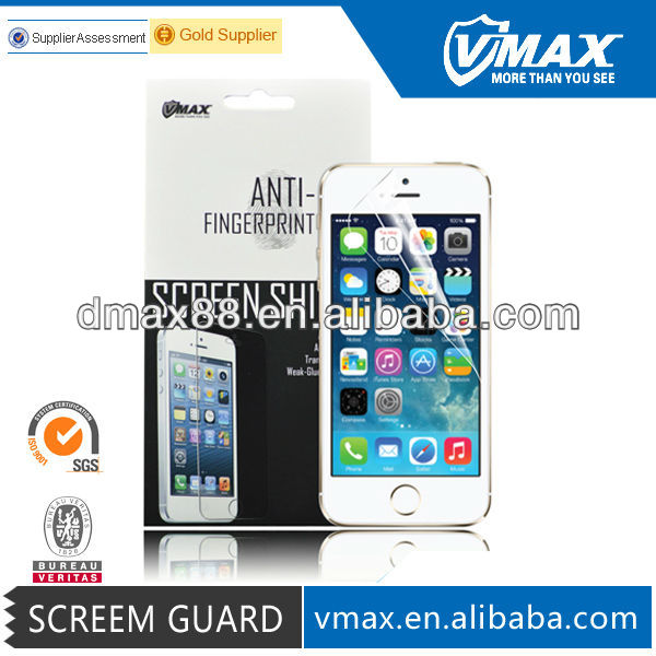 Gold Supplier Vmax For iPhone 5s screen protector clear with Poly Bag oem/odm (High Clear)