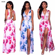 wholesale 2 colors flower print thigh split designs maxi dress women fashion clothing 2017