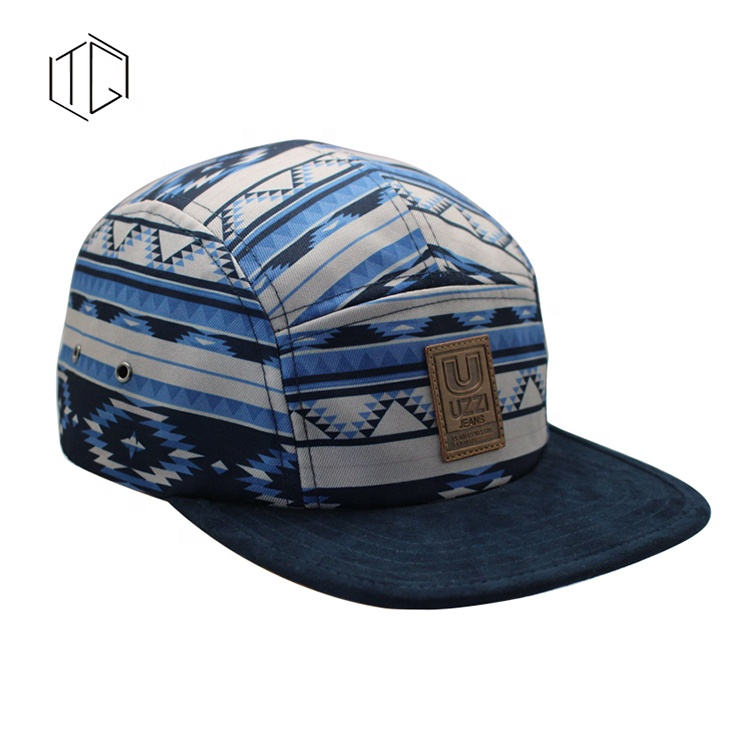 Men's Custom Logo Dye Sublimation Canvas 5 Panel <strong>Hat</strong>