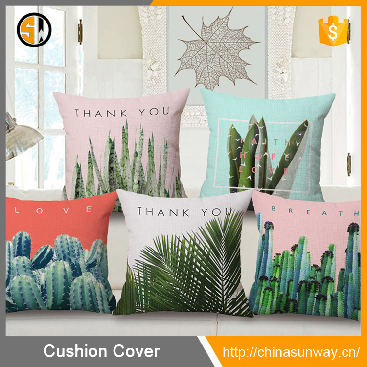 Wholesale Green Canvas Pillow Case Trendy Tropical Palm Tree Decor Throw Cushion Cover Case Sofa Home Decorative Pillow Case