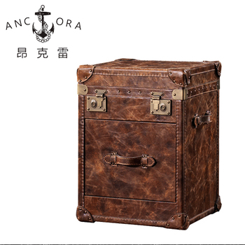 Small leather browm drawer chest leather luggage trunk American style trunk L801