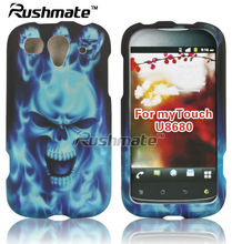 Blue Skull Rubberized Design Cover Skin For Huawei U8680 myTouch