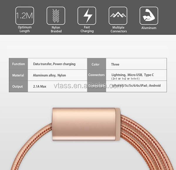 Wholesale micro, ligntning, type c cable 3 in 1 usb cable