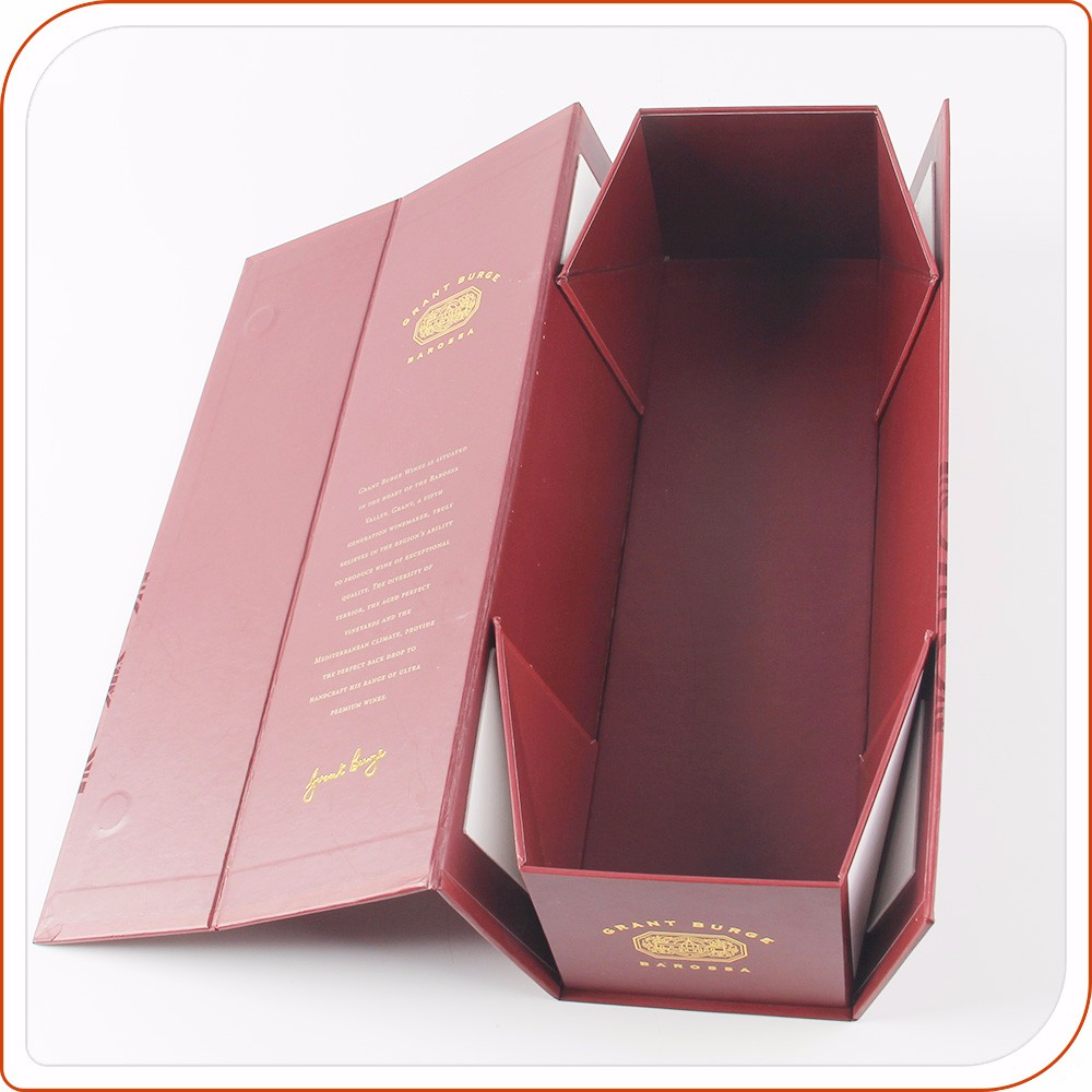 Luxury flat pack cardboard gift boxes for wine glasses