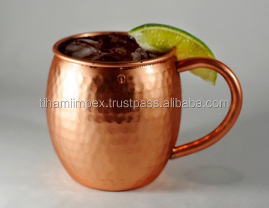 Moscow Mule Copper Mugs - 100% Solid Copper - Vodka or Tequila - No Inner Lining - Ayurvedic Health Benefits, Copper Mugs