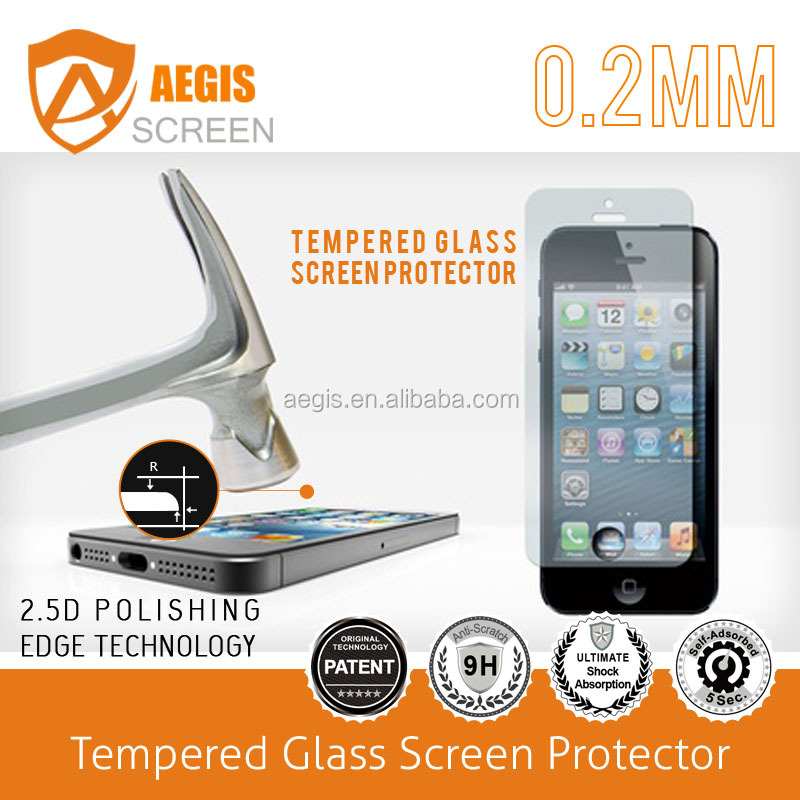 Super hardness 9H milo 0.33mm tempered glass screen protector for iphone 5/5s