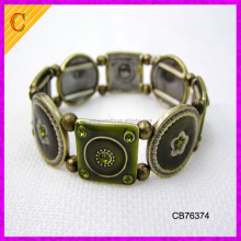CB76374 Wholesale Vintage Metal Lace Pattern Filigree Crystal Stretch Bangle Etched Bracelet for Women 7""