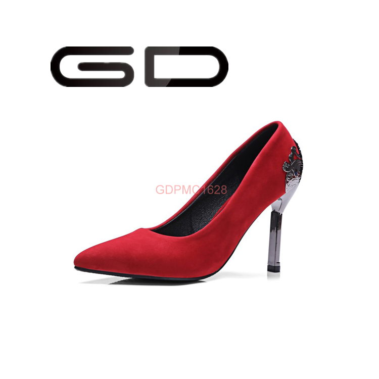 China factory design your own big size high heel leather pumps shoes