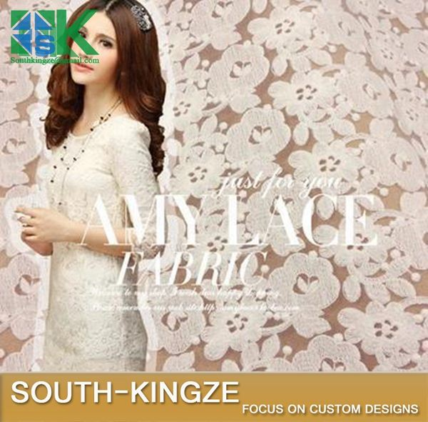 2016 Fashion Lace Fabric Art Lace white beige Pure cotton embroidery s Apple blossoms dress curtain fabric width 120 cm 2016 Fas