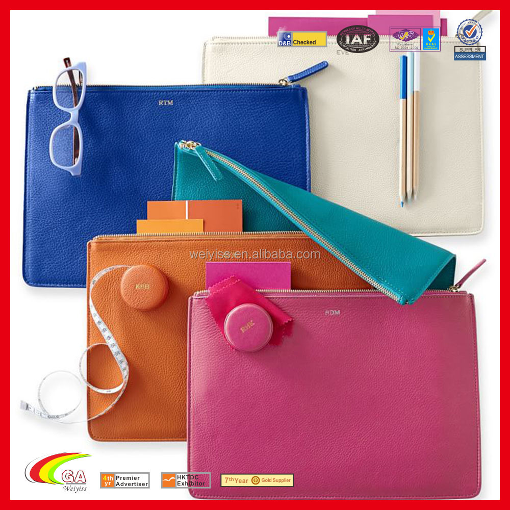 PU Leather Cosmetic Zipper Bag in Colors Best Selling Leather Carrier Bags