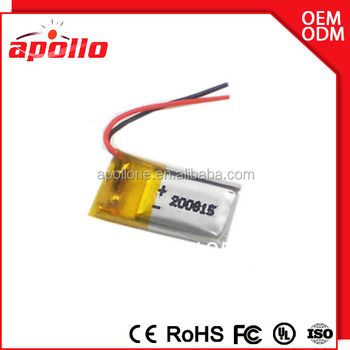Ultra thin battery 2mm 3.7V 8-10mAh Li-polymer rechargeable battery 200815