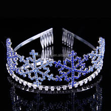 Blue crystal colored rhinestone bridal wedding decorative tiara with comb crown of miss hair accessory