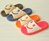 cheap wholesale comfortable felt cotton slippers with smile face picture