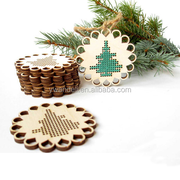 Unfinished Wooden Supply Cross Stitch Blank Christmas Decor Craft