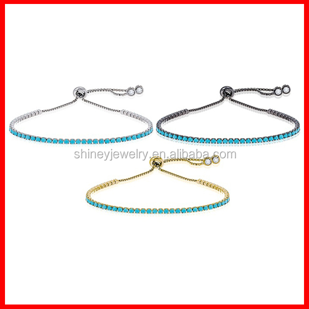 in stock 2017 factory wholesale high quality turquoise tennis 925 sterling silver bead bracelet
