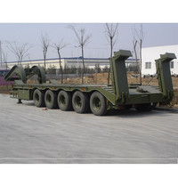 3 axle used low bed truck trailer 100t and 50 tons low bed semi trailer for sale