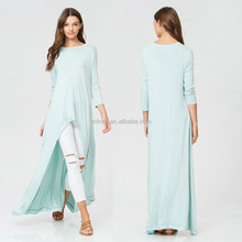 Womens clothing latest design 2017 Ladies 3/4 sleeves Mint Green Hi Lo Tunic Dress