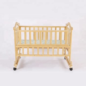 Natural pine wood baby crib/baby swinging bed crib
